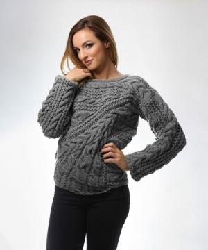 Pulover gri din lana tricotat manual, cu maneci ample, manseta elastica lata si impletituri Onibon