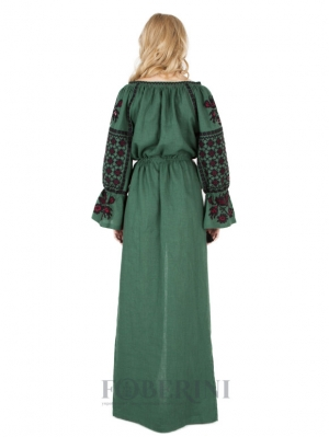 Green Grove Maxi  Embroidered Dress