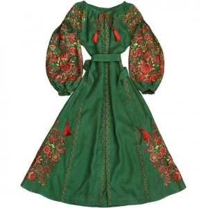 Green linen embroidered dress with floral pattern - 100% natural linen - long ethnic folk ukrainian dress vyshyvanka - kaftan