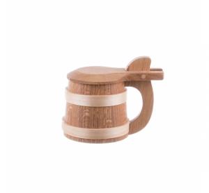 Halbă de bere din lemn cu capac 750 ml