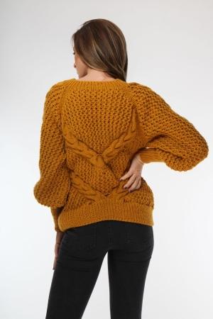 Pulover din lana galben mustar tricotat manual cu maneca lunga supradimensionata Onibon