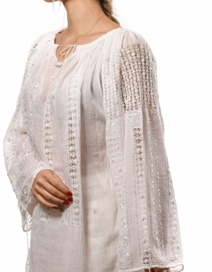 Handmade Romanian blouse white embroidery