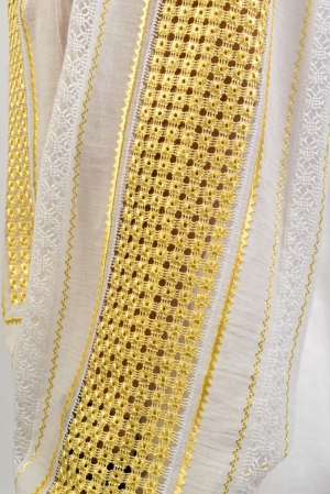 Golden silk embroidered Romanian gauze