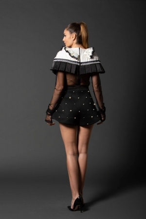 IE CLOTHING 'Alice' neoprene and pearls shorts