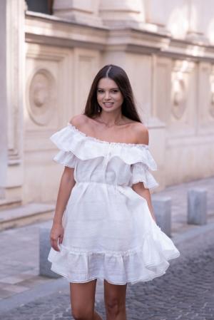 Iris Midi Summer Dress in White