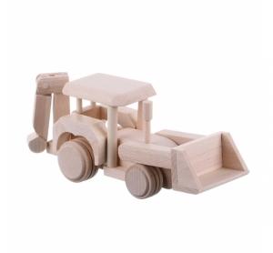 Jucarie din lemn buldozer si excavator