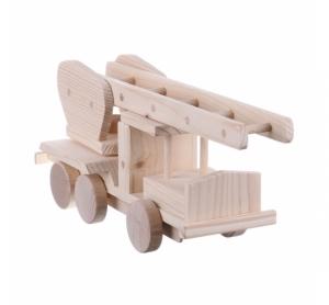 Jucarie din lemn necolorata model masina pompieri cu scara