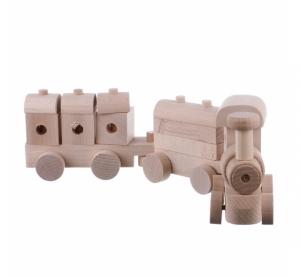 Jucarie din lemn trenulet cu locomotiva si  2 vagoane model mare