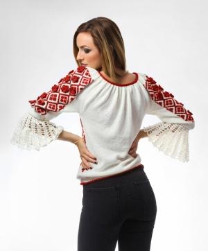 Ie tricotata model floral rosu Onibon