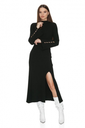 Knitted long sleeve turtleneck maxi black dress Dhalia
