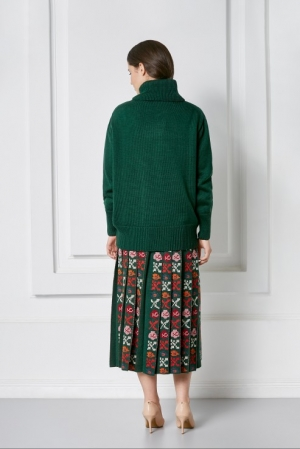 Knitted pleated skirt with authentic folklore floral design Petra Foberini