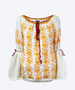 Knitted Romanian blouse style sweater with traditional yellow and crocheted collar