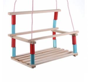 Leagan din lemn pentru copii cu spatar - de agatat in copac sau pe bara