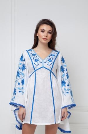 Linda Midi Dress in white linen