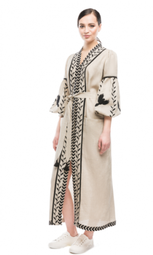 Linen Bohemain Dress with Folk Embroidery Bazena