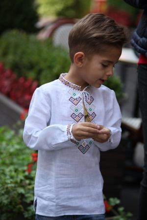 Linen Embroidered  Boys Shirt