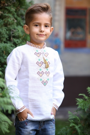 Linen Embroidered  Boys Shirt