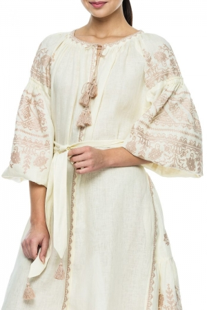 Linen Maxi Boho Luxe Embroidered  Dress Sobin BAZENA