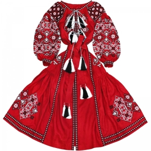 "Long red embroidered ukrainian dress vyshyvanka with wedges ""Spring Beauty""- 100%  linen ethnic folk boho dress - kaftan"