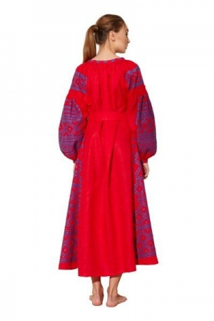 Maxi Red Bohemian Embroidered Dress BAZENA
