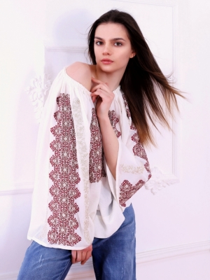 Modern Romanian Embroidery Blouse Magnifique Marsalla Red FLORII