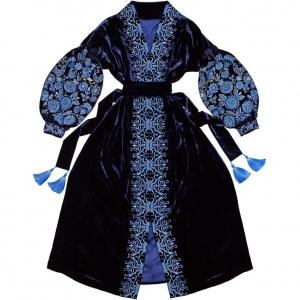 Navy blue velvet maxi dress - folk ethnic ukrainian dress vyshyvanka with ancient floral pattern - kaftan abaya robe