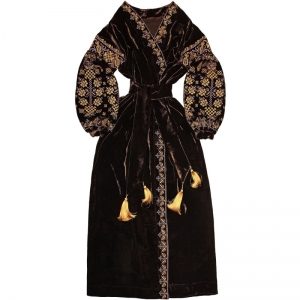 """Nights in Dubai"" Velvet Dress Dark brown velvet embroidered dress with floral embroidery - free shipping - ethnic Ukrainian long dress vyshyvanka - kaftan abaya robe"