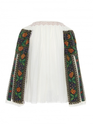 One of a kind restored and up-cycled Romanian Vintage blouse beg XX century hand embroidered model 092102