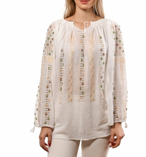 Openwork embroidered traditional Romanian folk blouse in ecru with small flowers