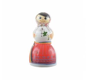 Păpușă pușculiță tradițională din ceramică model femeie 21 cm