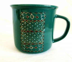 Porcelain Cup Handpainted Depicting Romanian Motifs Green
