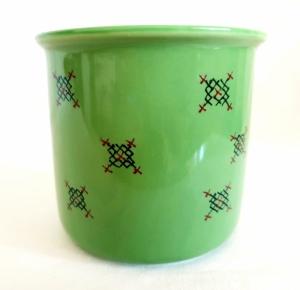 Porcelain Cup Handpainted Depicting Romanian Motifs Light Green