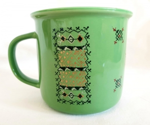 Porcelain Cup Handpainted Depicting Romanian Motifs Light Green