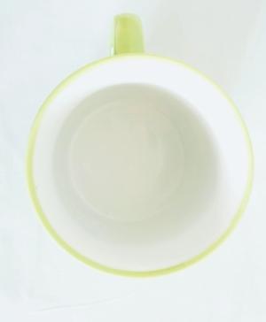Porcelain Cup Handpainted Depicting Romanian Motifs Lime
