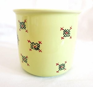 Porcelain Cup Handpainted Depicting Romanian Motifs Lime