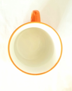 Porcelain Cup Handpainted Depicting Romanian Motifs Orange