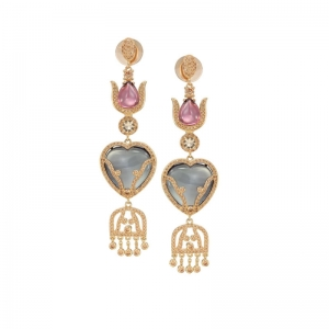 Pure Love Silver in Gold Bath Earrings with Zirconium Stones