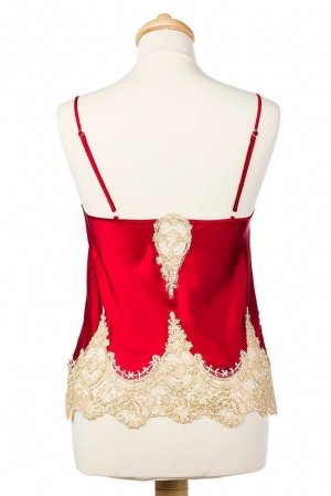 Red and golden beige silk and satin singlet