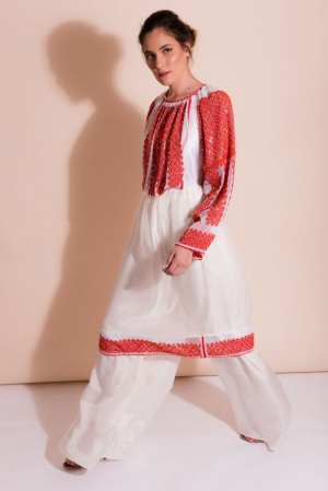 Romanian style embroidered dress