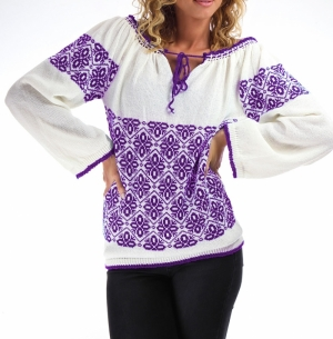 Romanian blouse knitwear in purple
