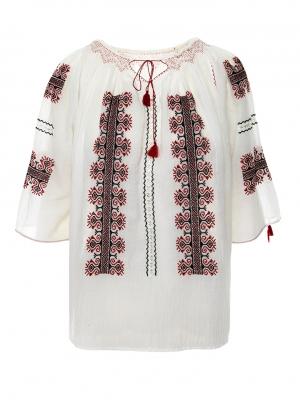 Ie traditionala romaneasca model Creasta rosu cu negru Breaza