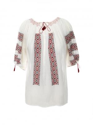 Ie traditionala femei maneca scurta motiv geometric rosu burgundy cusuta manual origine Breaza