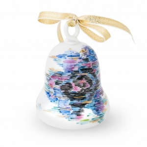 Romanian Fabrics motifs handpainted with pure Gold Porcelain Christmas Bell Wagner Arte
