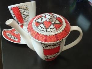 Romanian Folklore Hand painted Porcelain Coffee Teapot Set