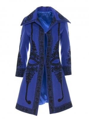 Paltonul romanesc cu broderie si gaitane lana si casmir albastru