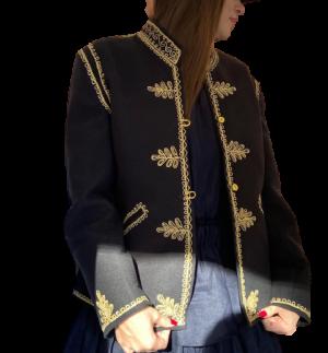 Jacheta romaneasca din postav neagra cu broderie gaitane unisex