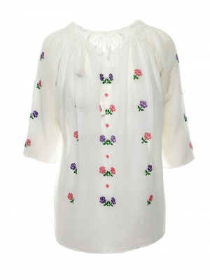 Ie Traditionala Femei Maneca Scurta Model Trandafiri Multicolor