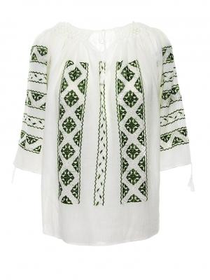 Ie traditionala romaneasca maneca 3/4 model geometric cu broderie verde emerald matase Breaza