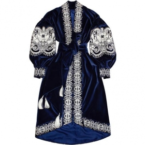Royal blue velvet bohemian luxe dress wih silver embroidery Kaftan Saffron