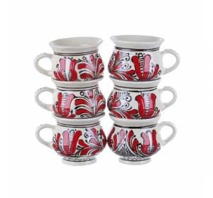 Set cani vin / ceai / cafea ceramica rosie de Corund 6 x 200 ml